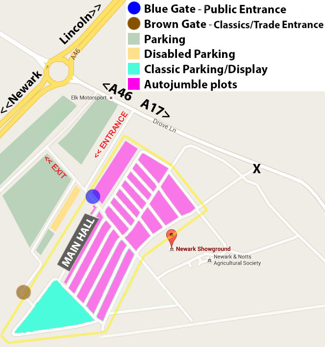 Newark Showground Autojumble Map